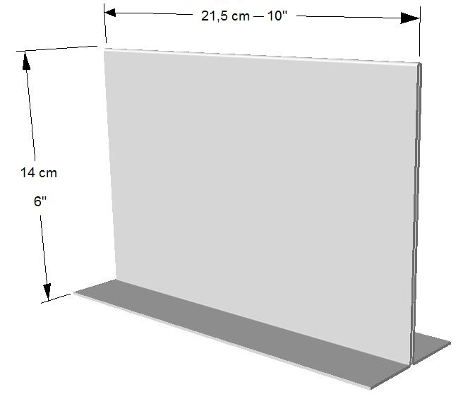 Exhibidor horizontal ambos lados.  1/2 Hoja Carta